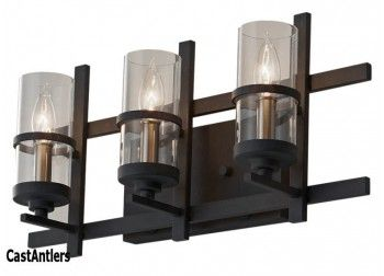 Rustic Vanity Lights - Forged Iron 3-Light Vanity Light | Rustic Lighting and Decor from CastAntlers