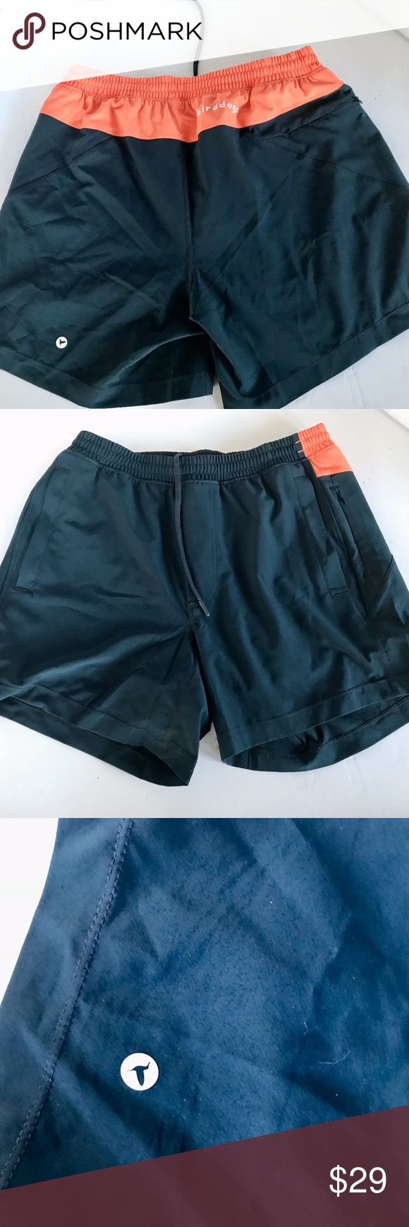 """Birddogs  Chester Copperpots Men's Gym Shorts Birddogs  Chester Copperpots Men's Gym Shorts . Size: Large:  Measurements. Length (waist to bottom edge): 15"""". Waist:30""""  (un-stretched) . Inseam: 6""""  Black & Melon Exterior , the liner is black. Drawstring Waist. 2 Front pockets. 1 zippered wallet pocket. 1 zippered phone pocket No rips, tears or pilling - Based on the interior label they weren't worn very often. Smoke Free, we have cats.  These Large Birddogs Chester Copperpots gym shorts…"""