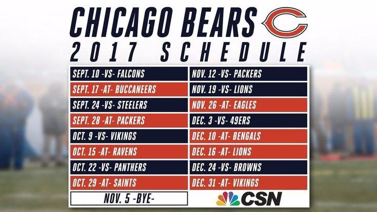 "2017-18 CHICAGO BEARS FOOTBALL SCHEDULE SEASON REFRIGERATOR MAGNET (LARGE 4""X5"")"