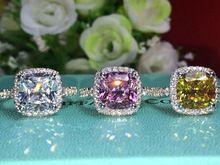 D/3 karaat vvs1 kussen cut betrokkenheid verjaardag ring 925 sterling zilveren sieraden geel of roze steen steen(China (Mainland))