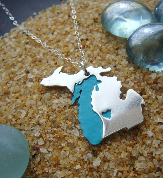 Michigan Pendant Necklace with Lake in Sterling Silver. She will place the heart wherever you wish. I love this!
