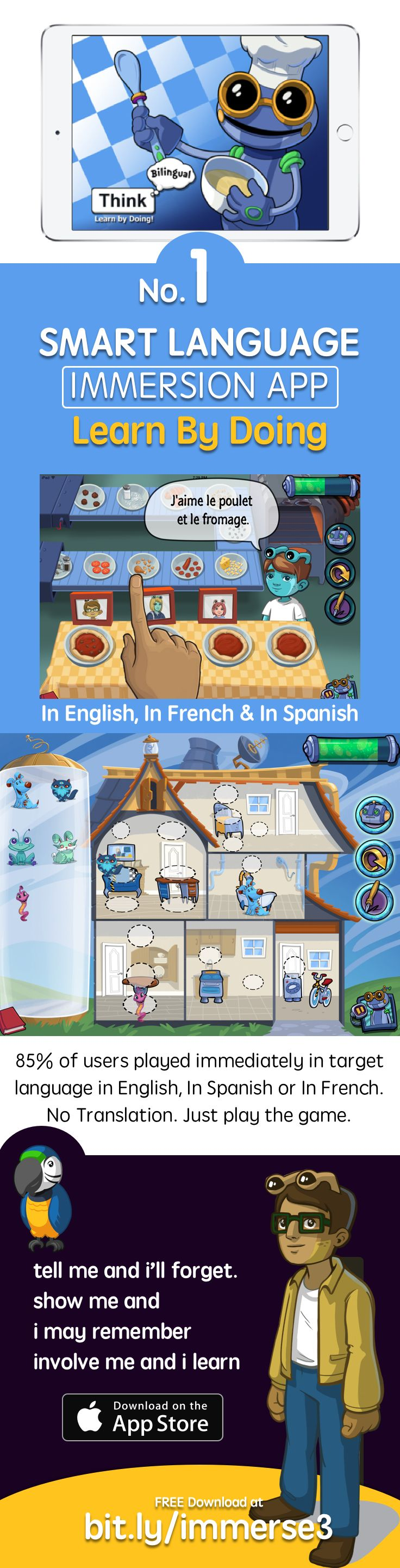 Learn Spanish using the first ever Immersion app https://itunes.apple.com/app/apple-store/id1086273809?pt=1948807&ct=jraug&mt=8&utm_source=pinterest&utm_medium=oldpin&utm_campaign=junior&utm_term=beginner&utm_content=junioraugpin
