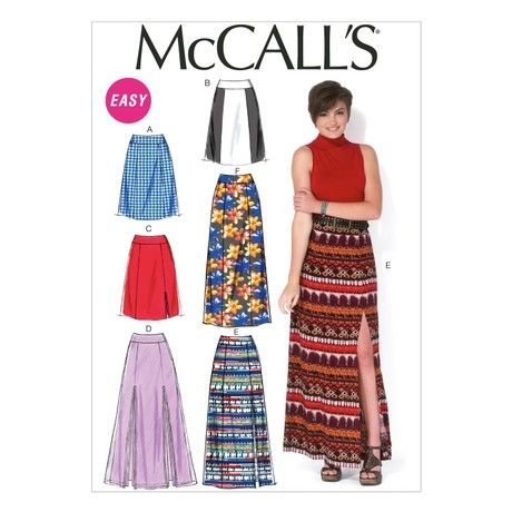 Mccall's Patterns MC7096 A5 Sizes 6/8/10/12/14 Misses Skirts