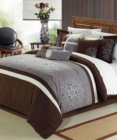 Another great find on #zulily! Brown Caroline Comforter Set #zulilyfinds