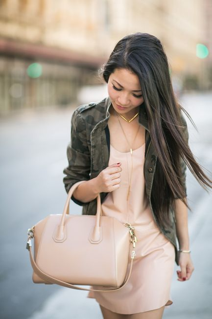 I love the blush color and fit and style of dress underneath. I also like the combination of the edgy camouflage blazer paired with the softness of the dress