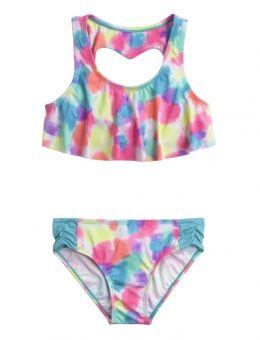 Heart Back Flounce Bikini Swimsuit