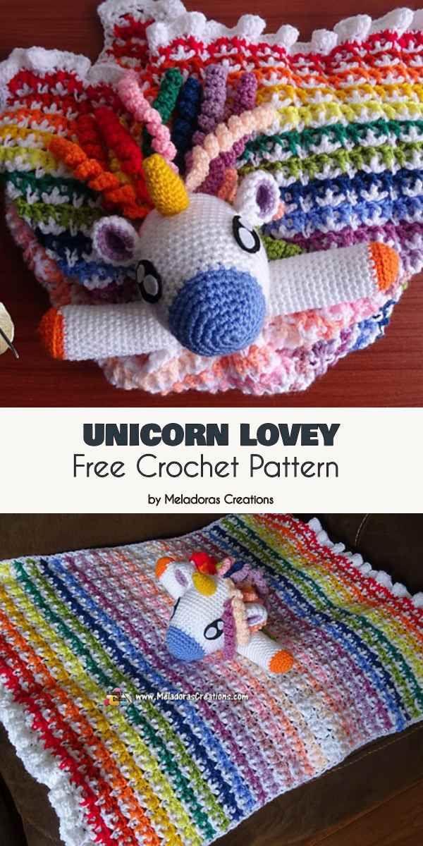 Unicorn Lovey Blanket Free Crochet Pattern | Crochet ...