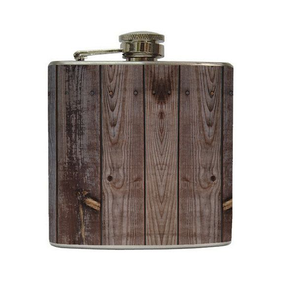 Distressed Brown Old Barn Wood Whiskey Flask Groomsmen Bridal Party Birthday Gift Stainless Steel 8 oz or 6 oz Liquor Hip Flask LC-1106