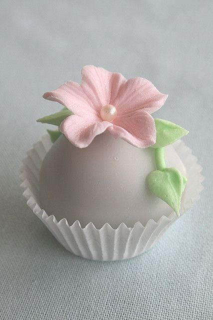 Chocolate bizcocho con fondant vertido. Adornado con una flor de azúcar y reales vides verdes hielo