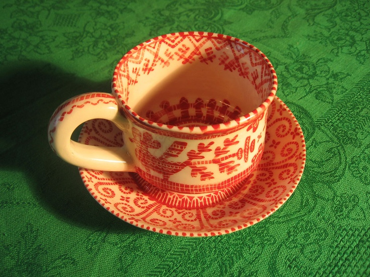 Фарфоровая чайная пара, ручная роспись