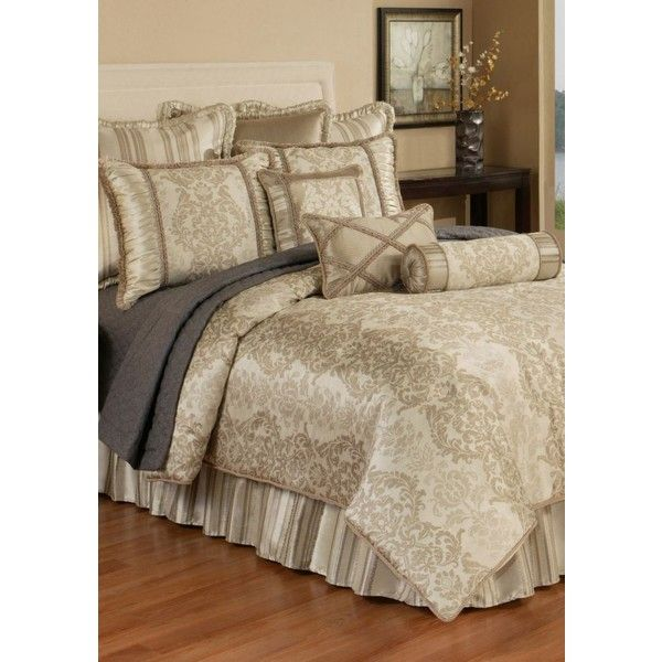 Austin Horn Classics Tankhaki Hampshire Comforter Set ($360) ❤ liked on Polyvore featuring home, bed & bath, bedding, comforters, queen bedding, oversized king comforter sets, king size shams, king bedding and king comforter sets