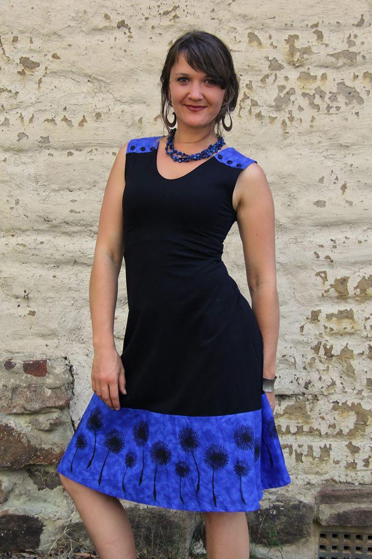 Dandelion dress. Hand black printed by artist Dalee Ella. Ethically Australian made, organic cotton dress.