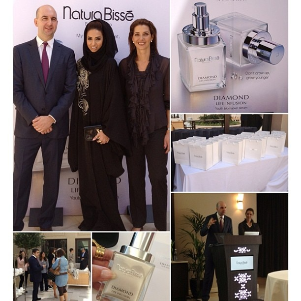 """Today I was at Natura Bisse's launch party. They introduced their latest incredible product the """"Diamond Life Infusion"""" it makes your skin 3 years younger within 1 week only.. This product took them almost 13 years to make     I was impressed with the presentation ❤❤❤ I can't wait to try it    In this picture am standing with 2 of the owners of Natura Bisse, amazing people and such a strong great family    Am so honored and proud of being the Middle East Brand Ambassador of Natura Bisse✌"""