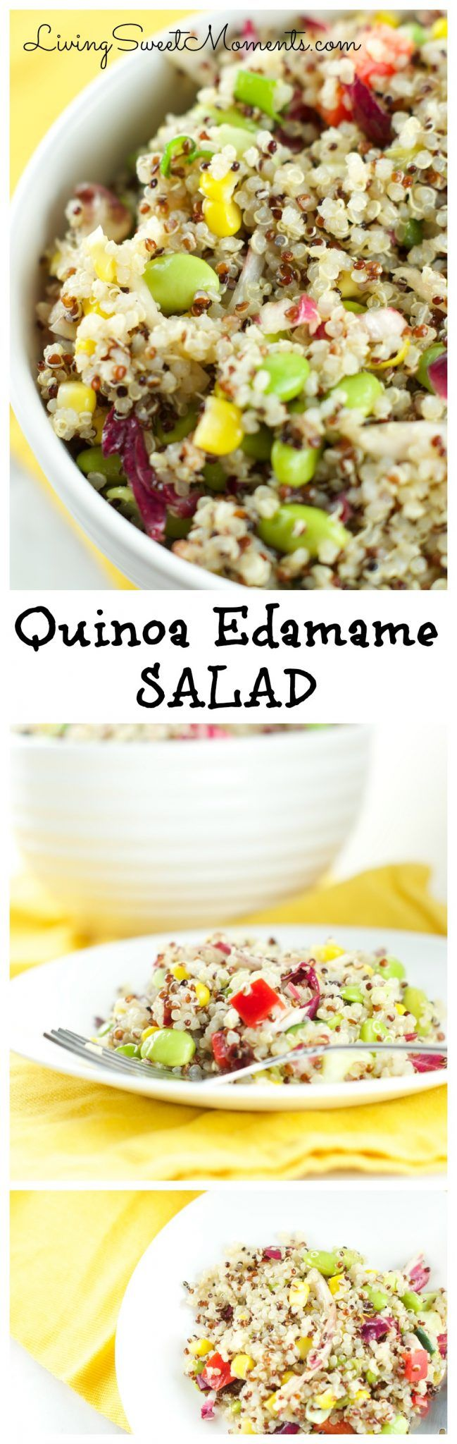 This fresh Quinoa Edamame Salad Recipe is colorful, crunchy and delicious. Served with an Asian-inspired vinaigrette and lots of veggies. Low fat and tasty. More healthy Quinoa recipes at livingsweetmoments.com via @Livingsmoments