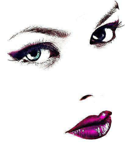 blue eyed womans face red lipstick original digital art print makeup beauty fashion artwork