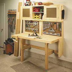 heavy workbench plan | woodworking project plan fold-down workbench storage cabinet