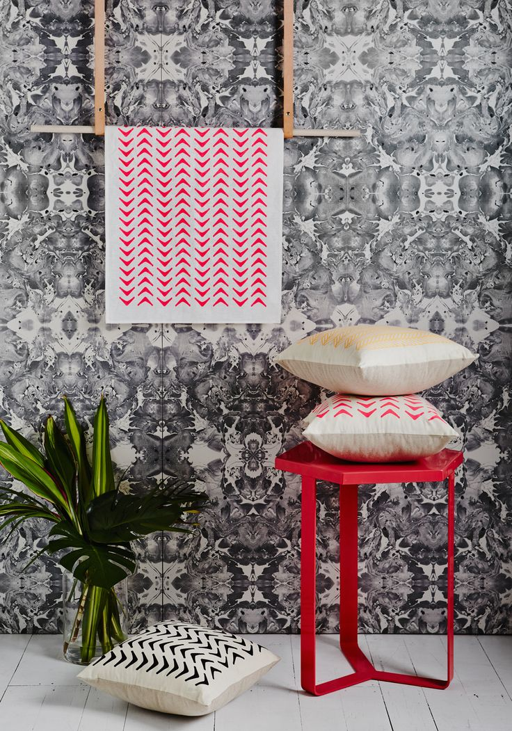 Aztec and cable range. Screen-printed by hand. Geometric design by Sly. Shot by Annette O'brien.