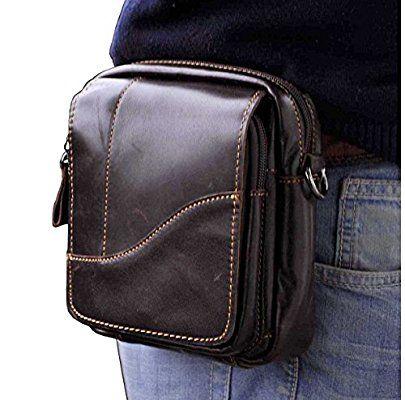 Le 'aokuu para Hombres Piel Auténtica Marrón Cintura riñonera de cadera bolsa de mensajero pequeña al aire libre táctico Bolsa de viaje (The 813-63)