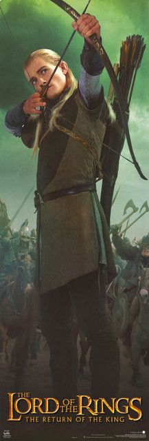 A great Lord of the Rings: Return of the King poster of Legolas! Fits on a door for a near-life-sized Orlando Bloom to liven up your room! Published in 2003. Fully licensed. Ships fast. 21x62 inches.