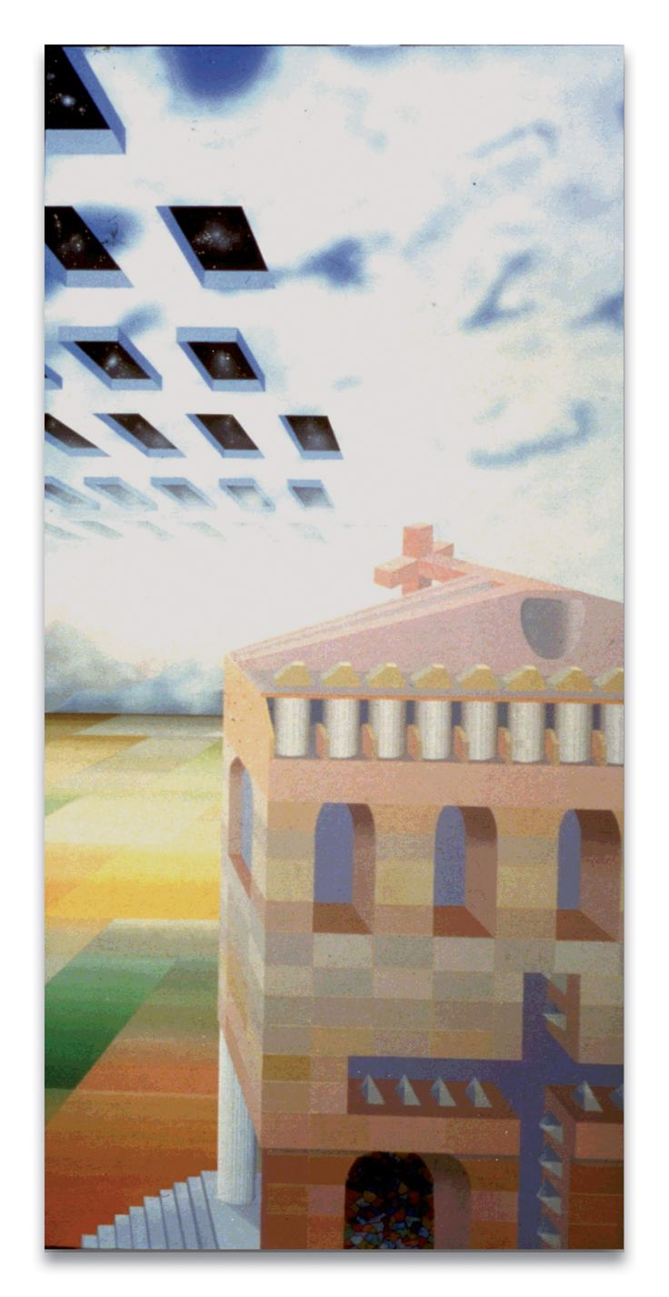 """""""Iperspazio urbano"""" acr. su tela, cm 100x80, 1982"""