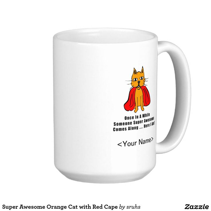 Super Awesome Orange Cat with Red Cape Classic White Coffee Mug