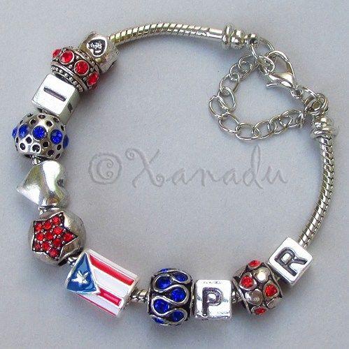 Puerto Rico European Charm Bracelet With Puerto Rican Flag Bead