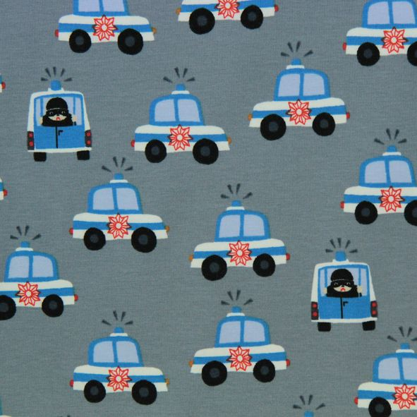 Bavlněný úplet Policejní auta šedá Little Darling. Policijééééé