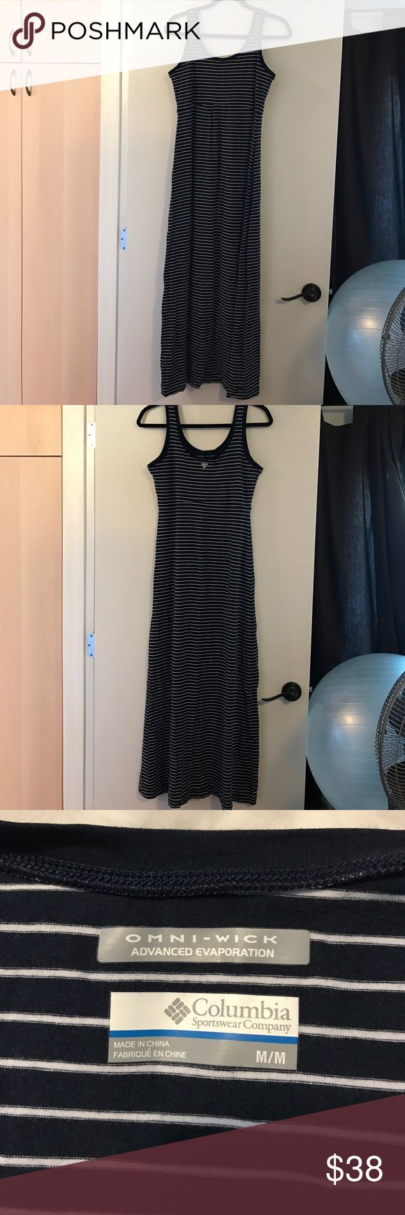 Maxi Dress Columbia Sportswear maxi dress. Navy blue with small white stripes. Dress has been worn twice. Columbia Dresses Maxi