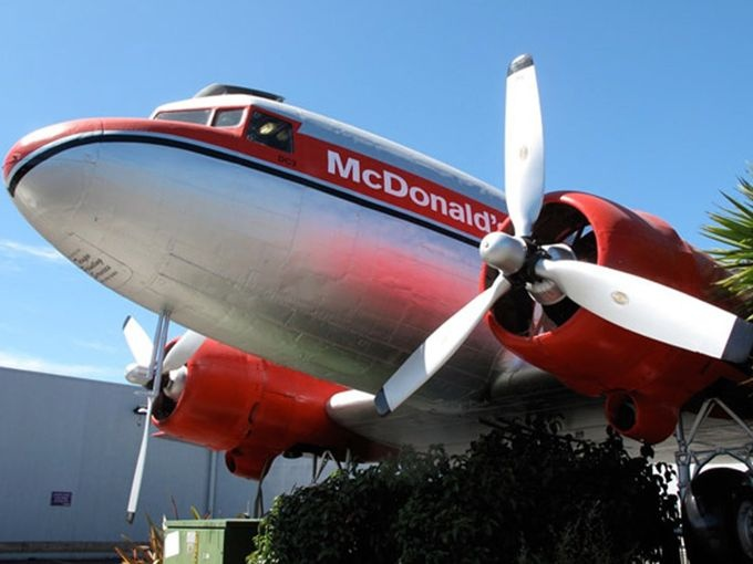 McDonald's Taupo, New Zealand, has the honor of being home to the only McDonald's location that includes a decommissioned DC3 plane as part of the store. There are seats inside the plane for your dining enjoyment, and you can view the cockpit as well! Maybe they hand out wings to first-time customers.