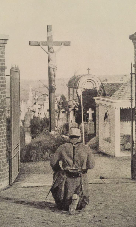 French soldier praying. World War I.