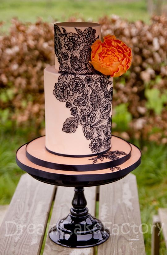 peach double barrel, with peonies and handpiped lace