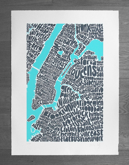 Intricate type map of New York by Ursula Hitz, including neighborhoods of Manhattan, Bronx, Queens and Brooklyn. Includes Financial District, Battery Park City, Tribeca, Knickerbocker Village, China Town, Soho, Little Italy, Noho, Nolita, Lower East Side, West Village, Meatpacking District, Flatiron, Chelsea, Garment District, Union Square, Murray Hill, Theater District, UWS, Central Park, UES, York Ville, El Barrio, Harlem, Morning Side Heights, Williamsburg and more.