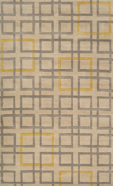 Beige Rug With Gray and Yellow Geometric Pattern: Artists, Artist Studios, Area Rugs, Living Room, Wool Rugs, New Zealand, Surya Artist