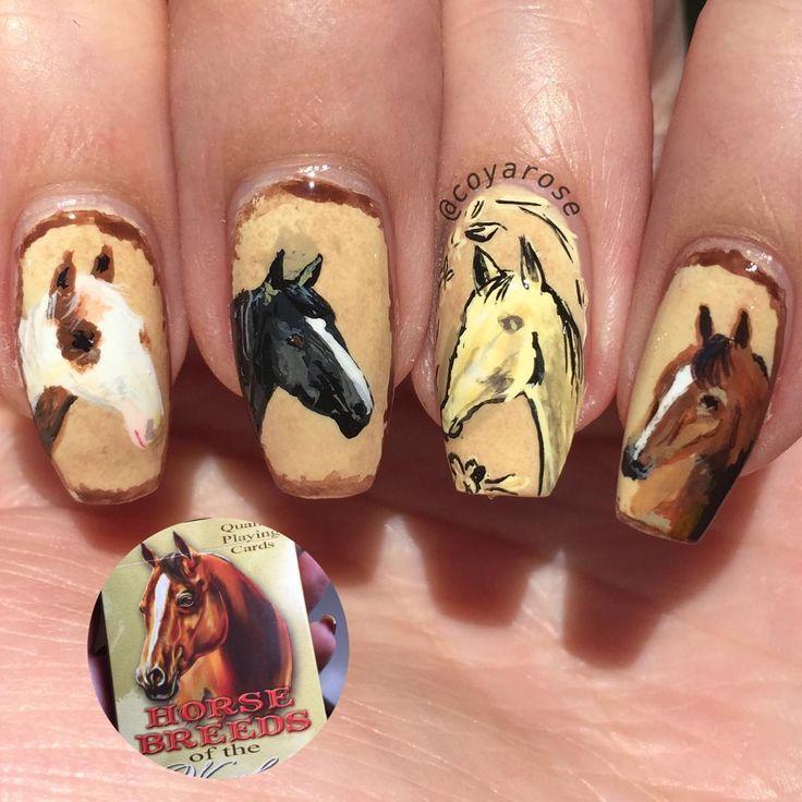Western southwestern horse nails nail art