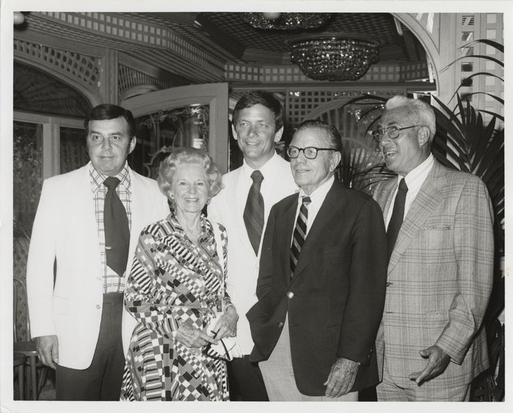 The New Perry Mason.  Left to right: Ernie Frankel, producer; Jean Gardner, Erle Stanley Gardner's widow; Monte Markham, the show's star; Corney Jackson, executive producer; Art Seid, producer.  From the Jim Davidson Collection.