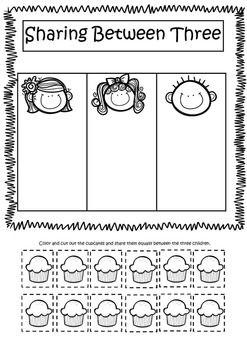 equal sharing splitting numbers introduction to division worksheets division pinterest. Black Bedroom Furniture Sets. Home Design Ideas