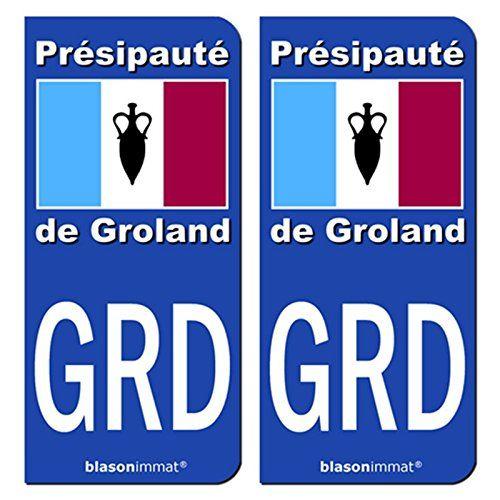 Idée #CadeauDeMerde # : 2 Stickers autocollant plaque immatriculation auto : GRD Le Groland - Drapeau