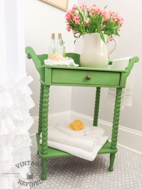 Antique Washstand painted in a custom Pear Green shade. Mix of Annie Sloan Arles, Antibes Green & Chateau Grey