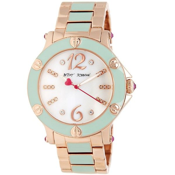 Betsey Johnson Women's Blissful Mint Enamel Bracelet Watch (15.225 HUF) ❤ liked on Polyvore featuring jewelry, watches, rosgldmnt, mint green watches, mint watches, dial watches, betsey johnson and mint green jewelry