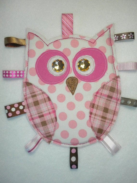 Baby Girl Owl Tag Toy Pink And Brown Owl Toys And Tags