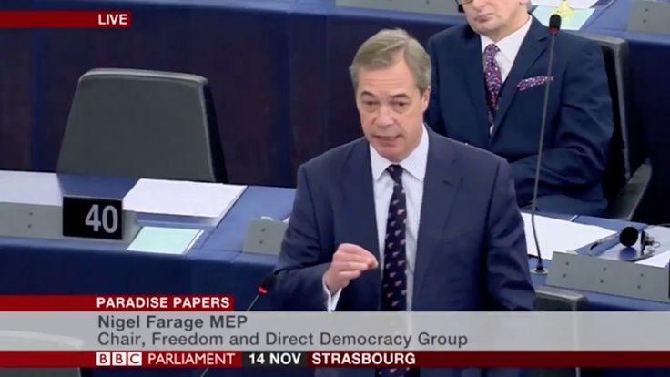 Nigel Farage accuse directement George Soros au parlement européen Pour lancien chef du UKIP les enquêtes sur les Paradise Papers ou sur lingérence supposée de la Russie pourraient avoir été commanditées par lOpen Society Foundation. LONG exerce en tout cas un lobbying intense auprès des décideurs européens.  Leurodéputé britannique Nigel Farage a encore mis les pieds dans le plat ce 14 novembre 2017 au Parlement européen de Strasbourg. Le fondateur du Parti pour lindépendance du Royaume-Uni…