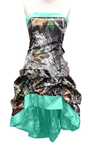 MILANO BRIDE Chic Camo Prom Party Dress Curto Hi-Lo Strapless Wedding Party Dress-16-Hunter   – Wedding ideas