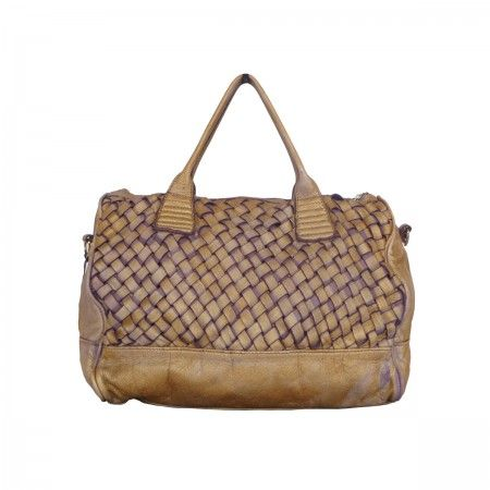 Tote bag Handmade woven with gold effects.