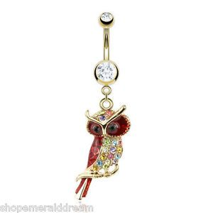 GOLD-Plated-GP-Multi-Colour-Owl-Belly-Bar-Navel-Ring-Dangle-Body-Jewellery-Sexy