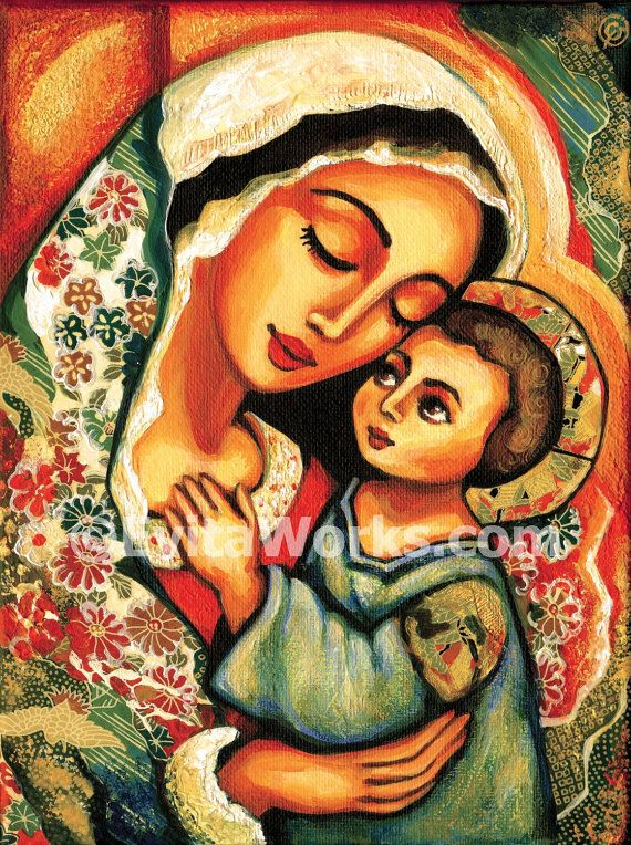 Madonna and Child Blessed Mother Virgin Mary and Jesus mother and son motherhood art print Christian art, signed print, 7.5x10 12x16