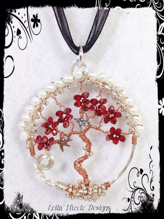 Hand Made Tree of Life Pendant Sterling Silver & Copper Wire Wrapped OOAK with a Bird - T6 on Etsy, $40.00