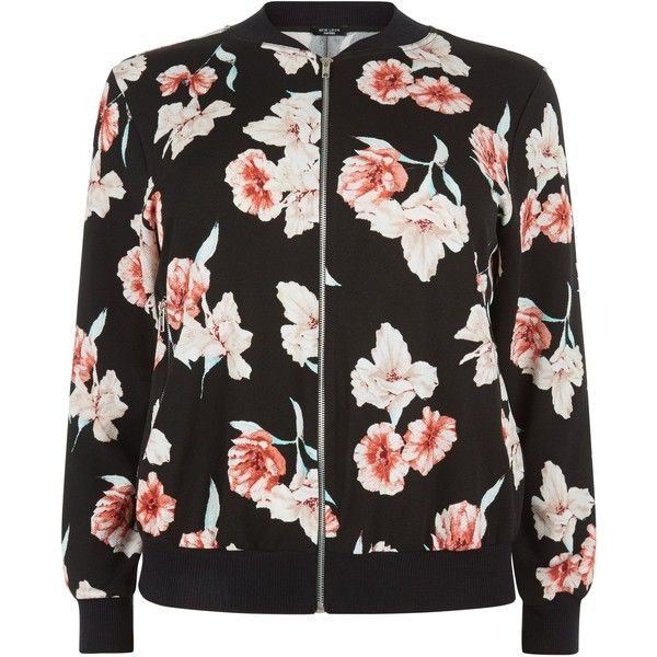 New Look Curves Black Floral Print Bomber Jacket ($21) ❤ liked on Polyvore featuring outerwear, jackets, tops, bomber, bomber jacket, black pattern, flower print jacket, floral jacket, patterned bomber jacket and bomber style jacket