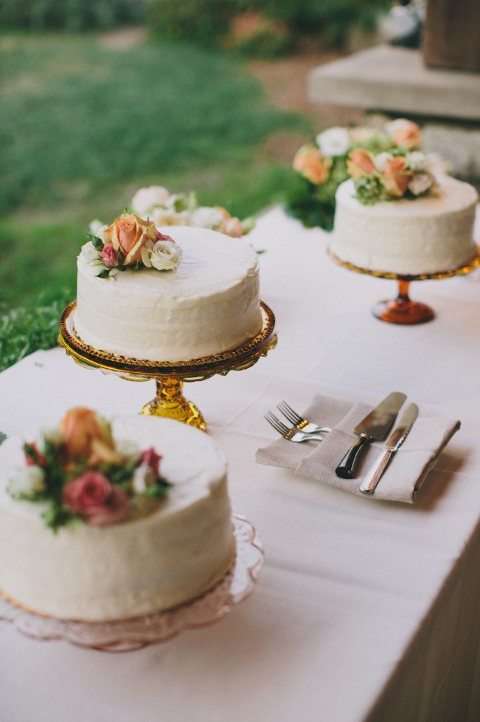 small wedding cakes table | vintage pressed glass cake stands | Rad + In Love | Snippet & Ink