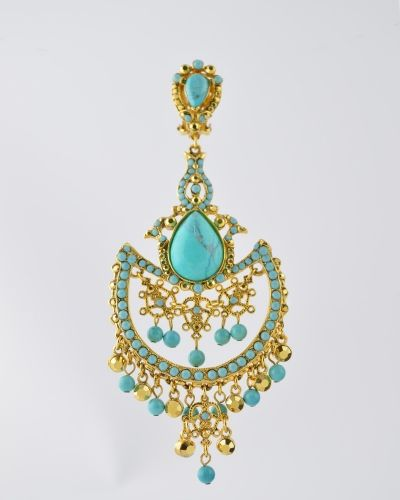 TURQUOISE ON GOLD CHANDELIER 24 Karat gold plated chandelier with Turquoise stones and beads and accents of gold plated Austrian crystals. Earring is clip on . Earring measures 4.25 inches lond and 2 inches at widest point. Get a 20% discount with promo code: Olusegun683. $490