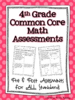 4th Grade Common Core Pre and Post Math Assessments for ALL Standards $
